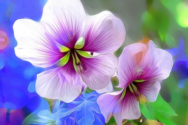 Flores en 3D color púrpura