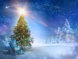Postal: Noche fría en Navidad