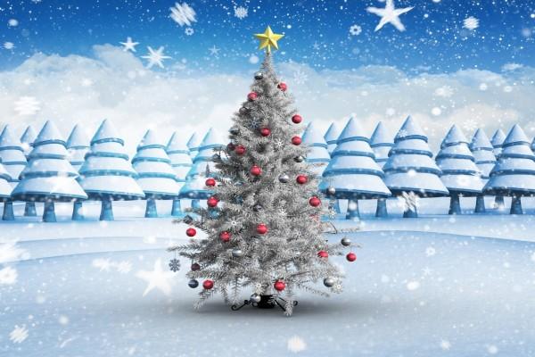 Árbol de Navidad en una noche invernal