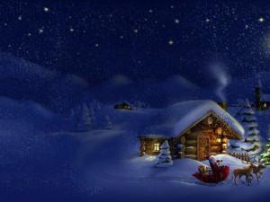 Postal: Papá Noel repartiendo regalos en una noche fría de Navidad