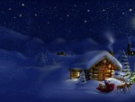 Papá Noel repartiendo regalos en una noche fría de Navidad