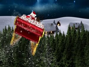 Santa Claus en su trineo repartiendo regalos