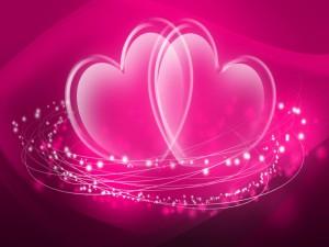 Postal: Corazones rosas
