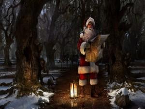 Santa Claus perdido en el bosque