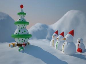 Postal: Muñecos de nieve mirando un original árbol de Navidad