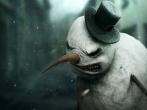 Postal: Muñeco de nieve enojado