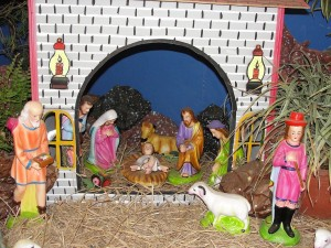 Escena del nacimiento del niñito Jesús