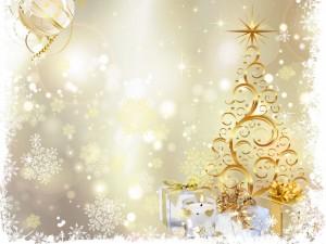 Postal: Copos de nieve sobre los regalos y el árbol de Navidad