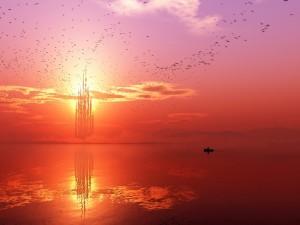 Aves migratorias en un reino fantástico