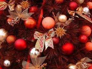 Postal: Árbol de Navidad adornado con bolas y moños