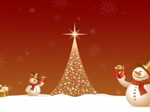 Muñecos de nieve con regalos de Navidad