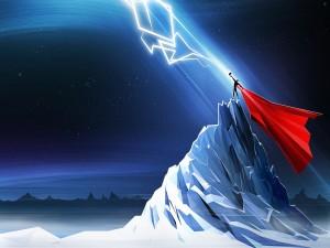 Postal: Thor y un rayo