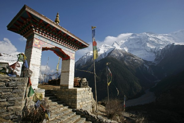 Entrada a un templo Budista en Nepal
