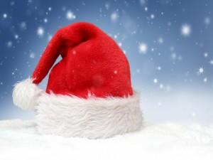 Postal: El vistoso gorro de Papá Noel
