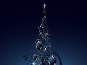 Postal: Árbol de Navidad en fondo azul