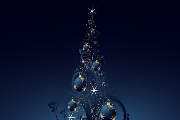 Árbol de Navidad en fondo azul