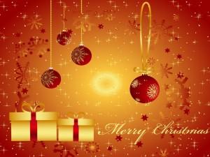 Postal: Adornos y Feliz Navidad
