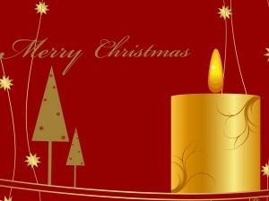 Vela dorada y ¡Feliz Navidad!