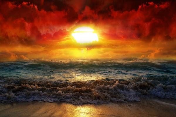 Mar y cielo al atardecer