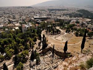 Postal: Vista de Atenas desde la Acrópolis