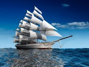 Postal: Buque de vela en el mar