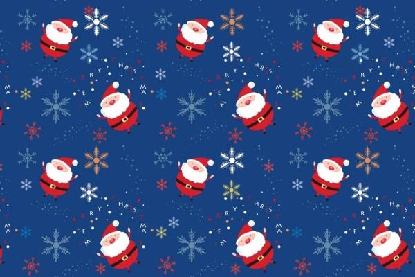 Un hermoso fondo con dibujos de Papá Noel y copos de nieve
