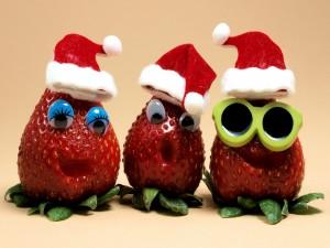 Tres fresas navideñas
