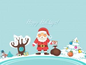 Postal: ¡Felices Fiestas! te desea Santa Claus