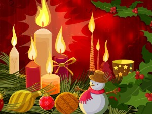 Brillantes velas en Navidad