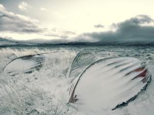 Postal: Nieve sobre las barcas