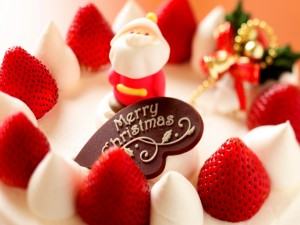 Postal: Una tarta navideña con fresas