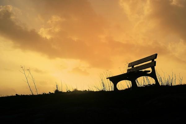 Banco de madera solitario bajo un cielo cubierto de nubes