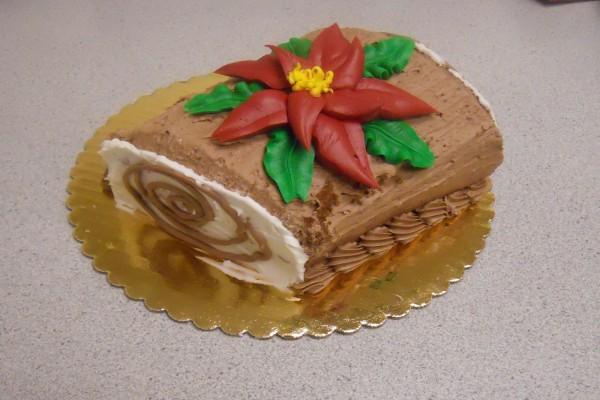Tronco de Navidad cubierto de chocolate