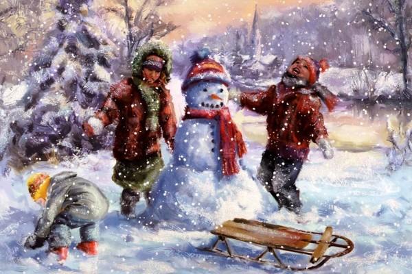 Niños haciendo un muñeco de nieve