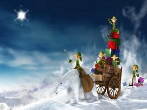 Duendes cargados de regalos para Navidad