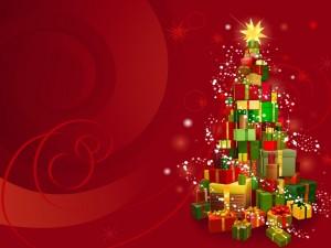 Postal: Árbol de Navidad hecho con regalos