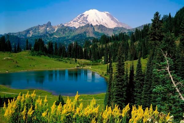 Vistas de un pequeño lago y una montaña