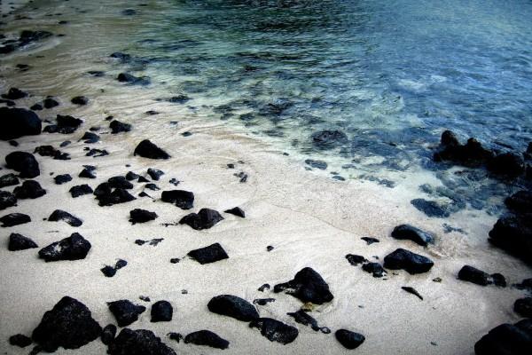 Piedras negras en la orilla