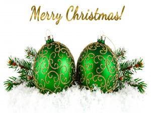 Postal: Adornos y mensaje navideño