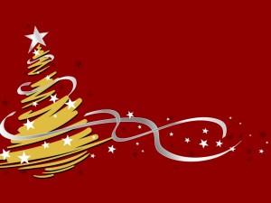Postal: Un árbol de Navidad dorado con estrellas blancas