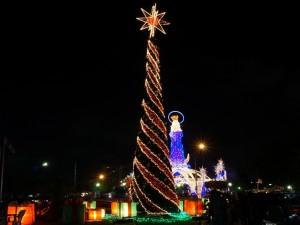 Árbol de Navidad en la calle con una gran estrella