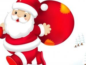 Postal: Papá Noel con la bolsa de regalos