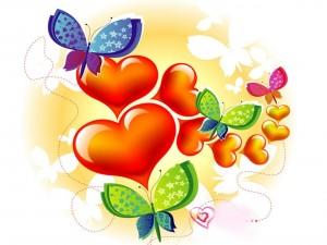 Postal: Mariposas y corazones