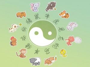 Zodiaco chino con el yin y el yan