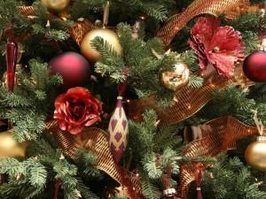 Postal: Árbol decorado para Navidad