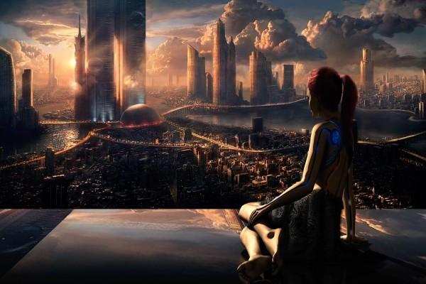 Robot en una ciudad futurista