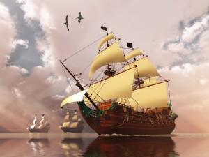 Postal: Buques de guerra en el mar