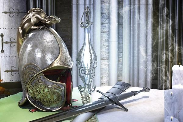 Una espada y un yelmo