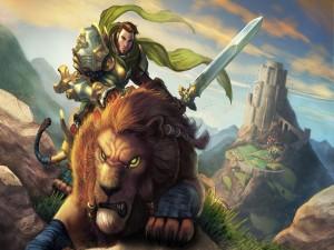 Postal: Guerrero sobre un león
