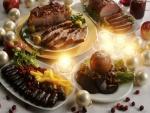 Diferentes carnes y otras comidas para Navidad